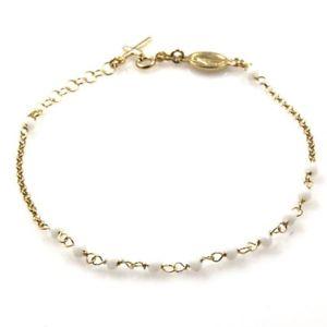 【送料無料】ブレスレット ブレスレットbracciale rosario in argento dorato postine bianche bcc1172