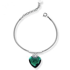 【送料無料】ブレスレット カフオブジェクトbracciale ops objects shiny cuore cristalli verde opsbr422