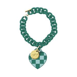 【送料無料】ブレスレット カフチェスチェスグリーンbracciale donna ops love scacchi opsbr103 pendente cuore scacchi verde chiaro e