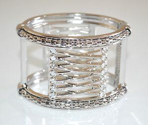 【送料無料】ブレスレット カフハードシルバーラインストーンクリスタルスレーブブレスレットbracciale argento rigido donna strass cristalli schiava elegante bracelet a74
