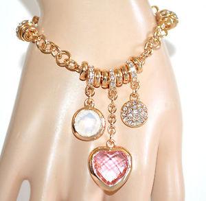 【送料無料】ブレスレット ブレスレットペンダントゴールドハートピンククリスタルラインストーンリングbracciale ciondoli donna oro dorato cuore rosa cristalli anelli strass a92