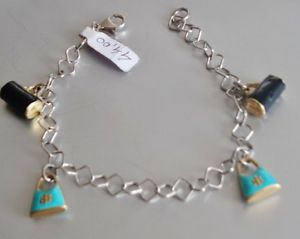 【送料無料】ブレスレット カフシルバーターコイズエナメルbracciale argento 925 donna ragazza charms turchese borsettine pochette smalto