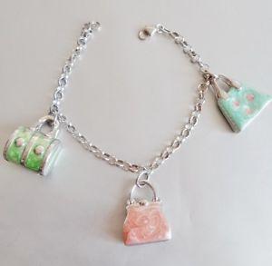 【送料無料】ブレスレット カフシルバーバッググリーンエナメルピンクbracciale argento 925 donna ragazza charms borsa borsettina smalto verde rosa