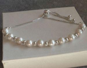 【送料無料】ブレスレット スターリングシルバーパールビーズブレスレットスライド925 argento sterling perla perlina braccialetto di scorrimento regalo