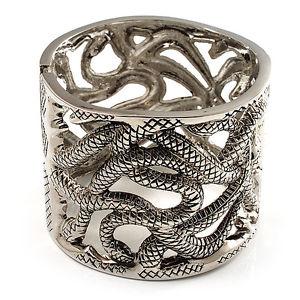 【送料無料】ブレスレット カーリングヘビメッシュブレスレットシルバーcurling serpenti trama grossa bracciale in mesh burn tono argento