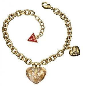 【送料無料】ブレスレット カフゴールドチェーンbracciale donna guess ubb11211 catena in oro con charm cuore