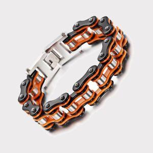 【送料無料】ブレスレット ブレスレットチェーンバイクバイクオレンジブレスレットファッションbracciale catena moto bici colore ktm nero arancio braccialetto uomo donna moda