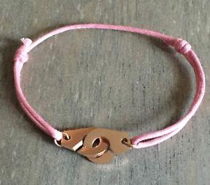 【送料無料】ブレスレット レシュルコルドンローズバスローズブレスレットles menottes sur cordon reglable rose en acier dor rose bracelet pour enfants