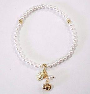 【送料無料】ブレスレット シルバーゴールドカフbracciale elastico con perle,chiama angeli e madonnina in argento 925 dorato