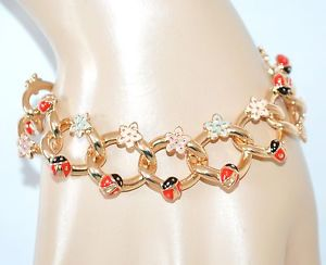 【送料無料】ブレスレット ゴールドブレスレットゴールデンチェーンブレスレットbracciale oro donna catena dorato fiori coccinelle portafortuna bracelet h1
