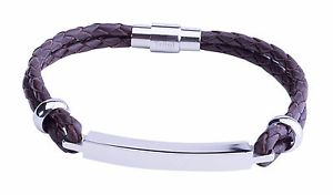 【送料無料】ブレスレット カスタムスチールバーブレスレットブラウンmarrone da uomo in acciaio personalizzata bar id identity cuoio braccialetto incisione gratuita uk