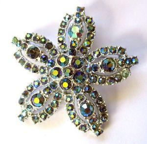 【送料無料】ブレスレット ビンテージアルジェントbroche ancien bijou vintage couleur argent fleur cristaux boralis bleu 4457