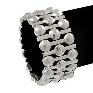 【送料無料】ブレスレット シルバークリスタルブレスレットマットバーmattpolished barre dargento cristallo braccialetto flessibilelunghezza 18cm