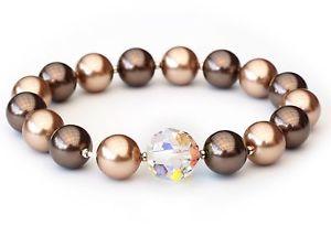【送料無料】ブレスレット カフスワロフスキーブロンズブラウンクリスタルビーズブレスレットnuovo bracciale 10mm12mm swarovski perle bronzomarronecrystal ab perle bracciale
