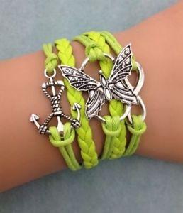 【送料無料】ブレスレット multi bracciale braccialetto ecopelle verde ancora infinito farfalla donna keoss