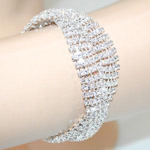 【送料無料】ブレスレット カフシルバーラインストーンクリスタルラメブレスレットbracciale donna argento cristalli strass elegante brillantini sposa bracelet g34