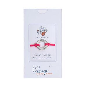 【送料無料】ブレスレット ライブスターリングシルバーゴールドサークルピンクカフmerci maman live laugh love argento sterlingoro cerchio regalo bracciale rosa