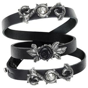 【送料無料】ブレスレット ゴシックカフマグヌスローズalchemy rose della perfezione gotico pelle nera cinturino da polso bracciale opus magnus