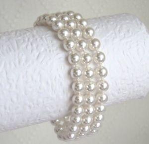 【送料無料】ブレスレット ビーズスワロフスキークリスタル#ブレスレットplaccato gold 3 strand bracciale realizzati con perle di cristallo swarovski