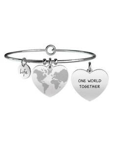 【送料無料】ブレスレット スチールカフbracciale kidult love in acciaio 316l e cristalli 731089 mondo a cuore