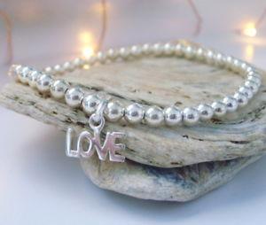 【送料無料】ブレスレット スターリングシルバーボールブレスレットブレスレットビーズsterling silver charm sfere bracciale, braccialetto di perline, amore charm, regalo per le don