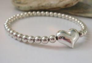 【送料無料】ブレスレット ビーズブレスレットブレスレットストレッチargento sterling charm cuore con perline bracciale, braccialetto stretch impilabile per le donne
