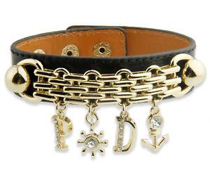 【送料無料】ブレスレット タラレーダーブレスレットkゴールドブラックnuova inserzionethompson luxury tara echt leder charmbraccialetto, bracciale, 18k dorato, nero