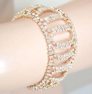 【送料無料】ブレスレット カフドナロラメbracciale donna oro strass cristalli da cerimonia sposa brillantini zirconi 25n