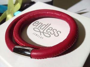 【送料無料】ブレスレット カフシルバーダブルワイヤーバックルendless jewelry rosso bracciale doppio filo fibbia in argento 36cm rrp 55