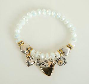 【送料無料】ブレスレット ビビスワロフスキークリスタルビーズブレスレットストレッチbibi bijoux rrp 57 cuore charm swarovski crystal perline braccialetto stretch