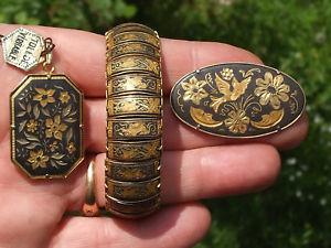 【送料無料】ブレスレット ボーブレスレットlot de 3 beaux bijoux anciens en tolede bracelet 19cm, broche et pendentif