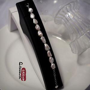 【送料無料】ブレスレット ブレスレットブランパールデバロックbracelet blanc perle de culture deau douce baroque irregulier special