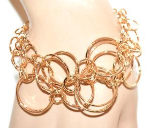 【送料無料】ブレスレット ゴールドブレスレットゴールデンチェーンフィルムブレスレットリングbracciale oro dorato donna catena anelli cerchi lucidi cerimonia bracelet g55