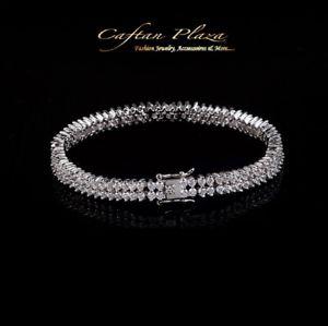 【送料無料】ブレスレット カフブレスレットスワロフスキークリスタルホワイトゴールドbracciale bracelet 18k bianca oro con swarovski cristalli aaa nuovo