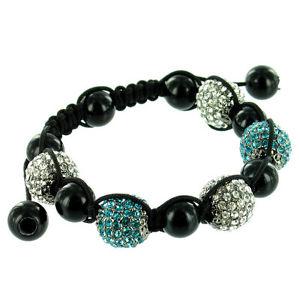 【送料無料】ブレスレット ブレスレットクリアクリスタルblu e chiare crystal su nero cinque stone bling bracciale stringa