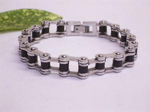 【送料無料】ブレスレット ブレスレットスチールステンレススチールゴムbracciale acciaiostainless steel nero gommate tra arti 20 cm di lunghezza