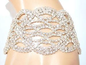 【送料無料】ブレスレット カフシルバークリスタルラインストーンbracciale argento cristalli sposa strass donna matrimonio cerimonia pulsera e175