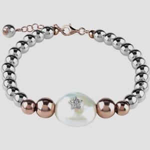 【送料無料】ブレスレット ブリスカフオセアニアヘマタイトパールシルバーbliss ,bracciale oceania con ematite, perla e argento 925 , nuovo 20077684