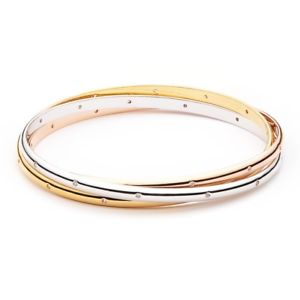【送料無料】ブレスレット トリニティトリカラーブレスレットmyjs trinity tricolore braccialetto realizzato con zirconi 3 oro placcato