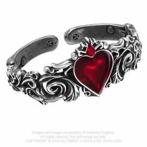 【送料無料】ブレスレット ブレスレットゴシックピューターエマイユalchemy gothic peltro fidanzamento di rosso cristallo bracciale con cuore smaltato fatta in uk a89