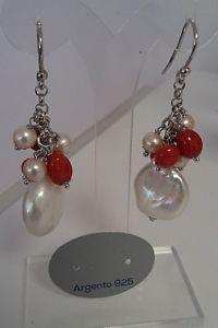【送料無料】ブレスレット シルバーイヤリングコーラルバロックorecchini in argento 925, corallo e perle barocche