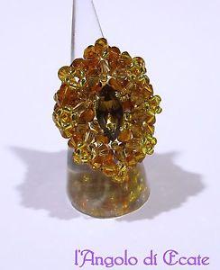 【送料無料】ブレスレット リングビーズスワロフスキークリスタルブロンズゴールドidea regalo anello artigianale perline conteria cristalli swarovski bronzooro