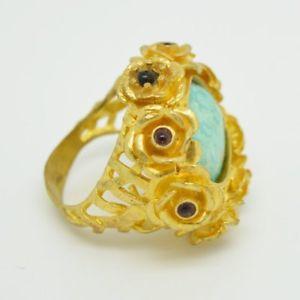 【送料無料】ブレスレット ストーンオスマンゴールドリングターコイズaylas semi preziosi gem stone ottomano dichiarazione anello doro turchese