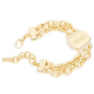 【送料無料】ブレスレット カフリュジョラグジュアリープレートコレクションゴールデンチェーンbracciale donna liu jo luxury lj604 catena dorata con piastrina brass collection