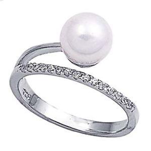 【送料無料】ブレスレット クリアリングargento sterling matrimonio amp; anello di fidanzamento pearl, chiaro cz anello di perle mm
