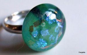 【送料無料】ブレスレット ダイクロイックシュルbague verre artisanal bleu vert dichroic sur anneau rglable argent le cabocho