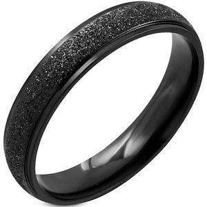 【送料無料】ブレスレット ステンレススチールリングブリリアントブラックanello 316l acciaio inox sabbiato sandblasted nero brillanti 4 mm donna uomo