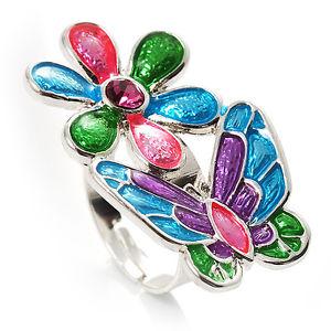 【送料無料】ブレスレット マルチカラーエナメルリングmulticolore smalto fiore e farfalla anello