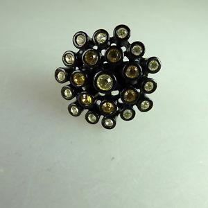 【送料無料】ブレスレット スワロフスキーエレメントリングneugablonz potente anello da donna swarovski elementsmai usato 49637