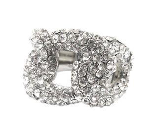【送料無料】ブレスレット リングストレッチメッシュシルバーノードbellissimo anello elastik stretch elastico argento maglie nodo design cristallino
